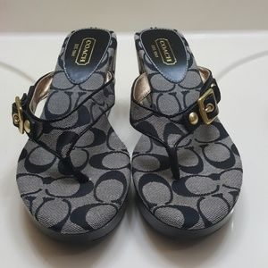 Coach black thong wedge sandal